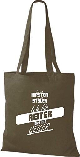 Shirtstown Stoffbeutel du bist hipster du bist styler ich bin Reiter das ist geiler olive R1cwY9Dz2v