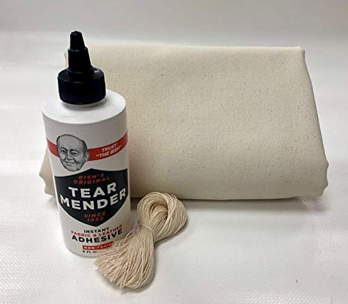 Montana Canvas Wall Tent Repair Kit, Repair Kit with 10oz Treated Grade 'A' Canvas, Packable Repair Kit for Tents, Clothing, tarps (Large)