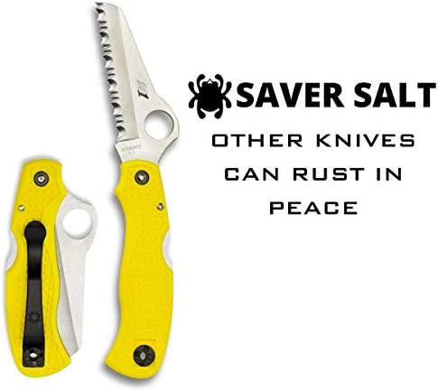 Spyderco Saver Salt Folding Knife with 3.09 H-1 Corrosion-Resistant Stainless Steel Blade and Lightweight Yellow FRN Handle – SpyderEdge -C118SYL