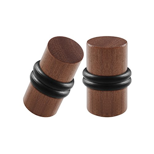 BIG GAUGES Pair Teak Wood 2g Gauge 6mm Double Flared Piercing Jewelry Stretcher Ear Solid Plug O-Rings Earring Lobe Tunnel BG0958
