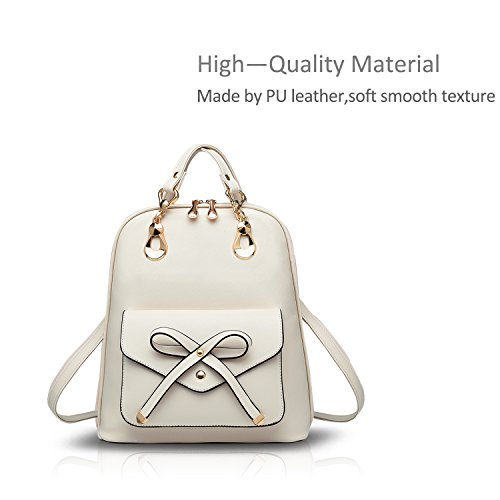 Bag School Backpack Travel Daypack PU Girls College Shoulder Beige Bowknot Fashion Travel Leather Beige amp;Doris Nicole Outdoor Bowknot Women wqvXt0Xxg