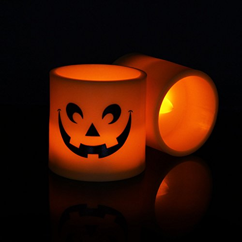 Halloween Pumpkin Light Yellow Flickering Led 6 Pcs Tea Light Flameless Candle, Battery-Operated Electronic Candles Special for Halloween Party Decorations Home Décor Christmas Decoration By Horeset by Horeset