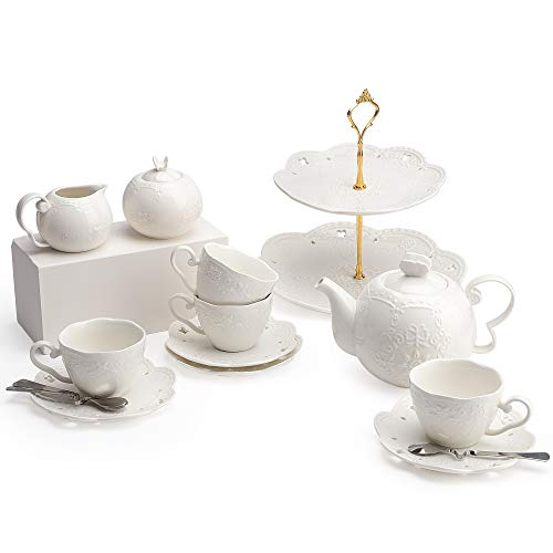 - Porcelain Tea Cup and Saucer Coffee Cup Set and Dinnerware (Cup Set with Creamer, Sugar Pot & Cake Stand, Service for 4)