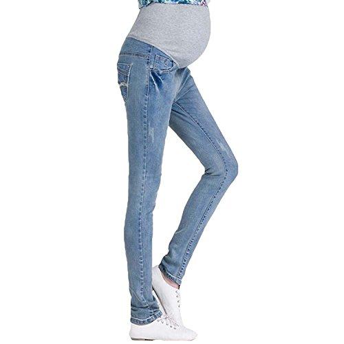 Fuyingda Jeans premaman vintage: Over the Bump, cintura in denim con effetto denim Azzurro