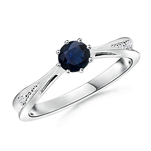 Tapered Shank Blue Sapphire Solitaire Ring with Diamonds in 14K White Gold (5mm Blue Sapphire)