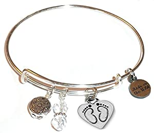 Charm (Butterfly, Flower, Paw print and More) Expandable Wire Bangle Bracelet, in the Alex and Ani style, COMES IN A GIFT BOX! (Baby Feet)