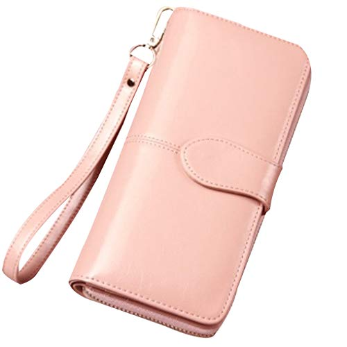 Girlish Antique Leather Women Long Pink Zip Clutch Holder Wallet Card Purse Handbag Polished Synthetic Beaums KwUY1qYZ