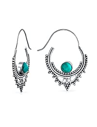 Bling Jewelry Synthetic Turquoise Silver Plated Brass Bali Hoop Earrings