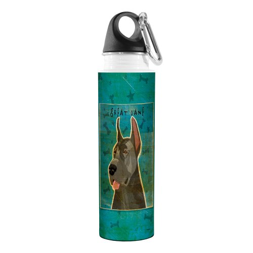 Tree-Free Greetings VB48030 John W. Golden Artful Traveler Stainless Steel Water Bottle, 18-Ounce, Blue Great Dane