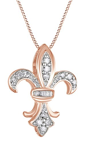 AFFY 1/4 Ct Cubic Zirconia Fleur-de-Lis Pendant in 14K Rose Gold Over Sterling Silver ()