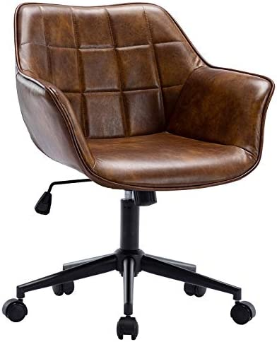 Duhome Modern Home Office Chair, Task Chair Leather Swivel Height Adjustable Computer Desk Chair with Black Metal Base Mid Back Arms, Yellowish Brown