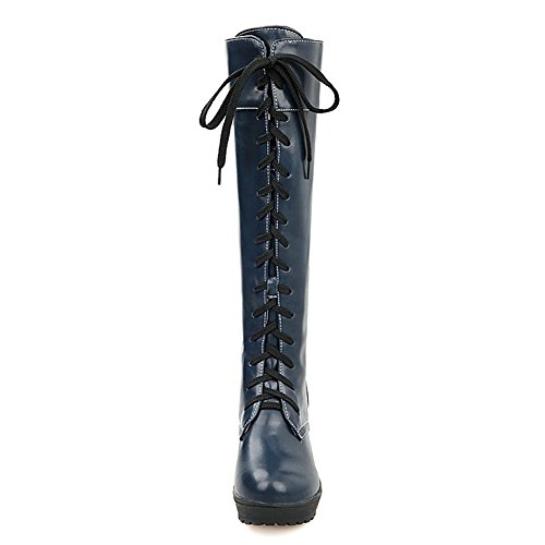 Women's Boots Up Lace 3885 Fashion Taoffen Blue Knee vqxgwddnFt