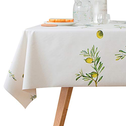 - LOHASCASA Wipeable Tablecloth Oblong Oilcloth Vinyl Peva Plastic Spill Proof Oil Tablecloths 6ft Camping BBQ Tablecloth - Beige Olive Fruit 54 x 72 inch