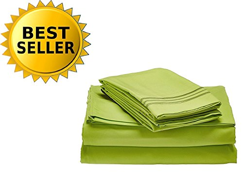 Elegant Comfort Bedding Collection 4-Piece Bed Sheet Set 1500 Thread Count Egyptian Quality Wrinkle Free HypoAllergenic with Deep Pockets , Full, Lime-Neon Green Lime Green Sheet Set