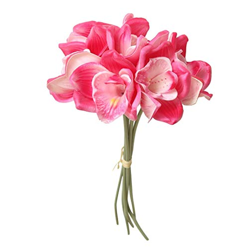Orchid Pink Wool - Artificial Flowers, MaxFox Fake 6 Heads Exquisite Orchid Bouquet Hydrangea Bridal Bouquets Home Office Wedding Party Decor (Hot Pink)