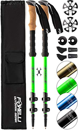 Foxelli Aluminum Trekking Poles - Collapsible, Lightweight, Aluminum 7075 Hiking, Walking & Running Sticks with Natural Cork Grips, Quick Locks, 4 Season/All Terrain Accessories and Carry Bag