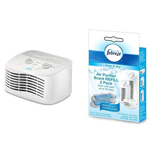Febreze FHT170W HEPA-Type Tabletop Air Purifier with Scent Refill, Linen and Sky, 2-Pack FRF102L
