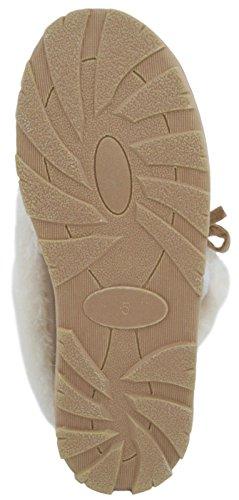 SlumberzzZ - Zapatillas de estar por casa de Tela para mujer Beige