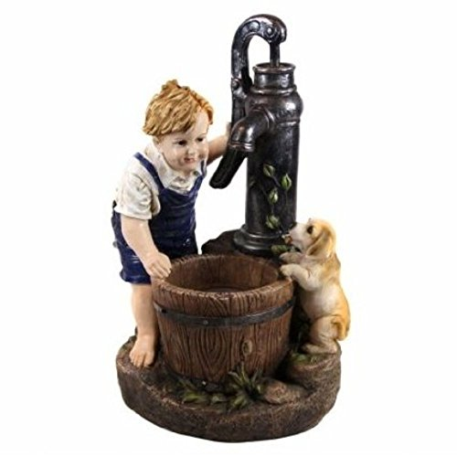 Alpine Boy and Dog Fetching Water Garden Fountain w/LED Light, 26 Inch Tall