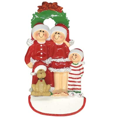 Christmas Family of 3 with Dog Personalized Ornament (Unique Christmas Tree Ornament - Classic Decor for A Holiday Party - Custom Decorations for Family Kids Baby Military Sports Or Pets) (Dog Personalized Christmas Ornament)