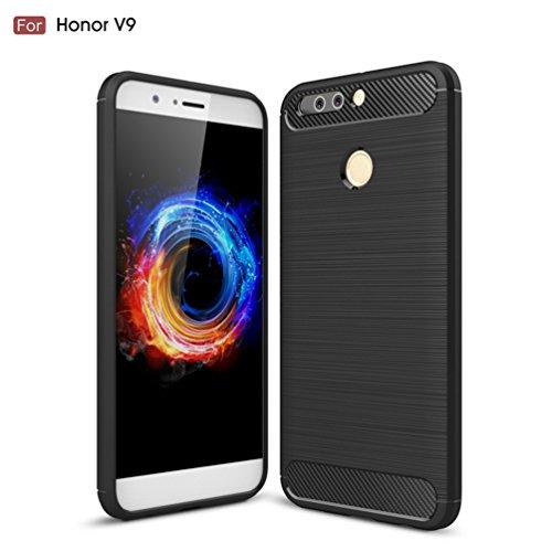Funda Huawei Honor V9,Alta Calidad Anti-Rasguño y Resistente Huellas Dactilares Totalmente Protectora Caso de Cover Case Material de fibra de carbono TPU Adecuado para el Huawei Honor V9 A
