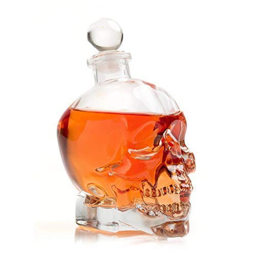 Large Skull Face Decanter with 4 Skull Shot Glasses and Beautiful Wooden Base - By The Wine Savant Use Skull Head Cup For A Whiskey, Scotch and Vodka Shot Glass, 25 Ounce Decanter 3 Ounces Shot Glass by The Wine Savant (Image #2)