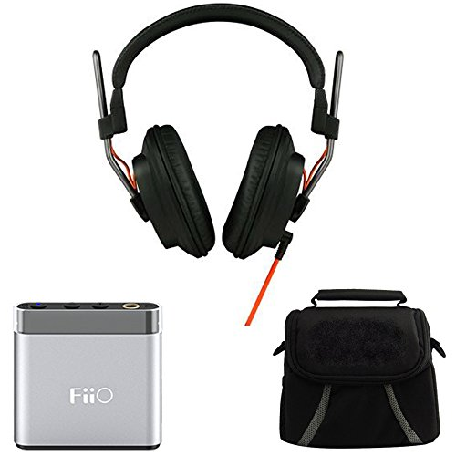 Fostex Professional Studio Headphones (T50RPMK3) with FiiO A1 Portable Headphone Amplifier (Silver) & Digpro Compact Deluxe Gadget Bag for Cameras/Camcorders by Beach Camera