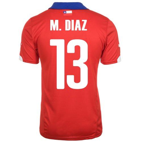 特異性感謝バンジージャンプPuma M. DIAZ #13 Chile Home Jersey World Cup 2014/サッカーユニフォーム チリ ホーム用 ワールドカップ2014 背番号13 マルセロ?ディアス (XL)