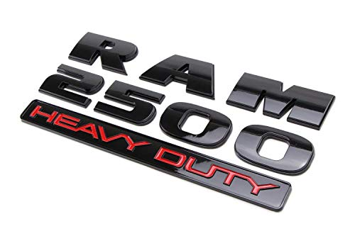 (2) Glossy Black Finish Side Door 3D Letters/Emblem For Dodge RAM 2500 Heavy Duty