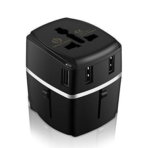 (Bonazza Universal International Travel Adapter Kit with 4Amps 4 USB Ports - UK, US, AU, Europe All in One Plug Adapter - Over 150 Countries & USB Power Adapter for iPhone, Android, All USB Devices)