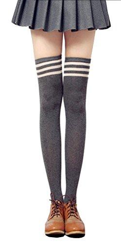 Womens Over Knee Stripe Socks Girls Thigh High Long Cosplay Socks Black White by Azue (Image #2)