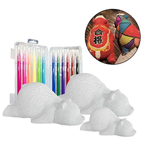 Panda Legends 3D Bear Figurines Blank Craft Kits Create Your Own Bear DIY Plaster Painting Kit for Boys or Girls, 2 Mini/1 -