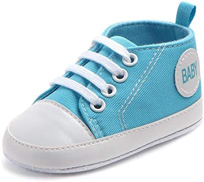 Canvas Classic Sports Sneakers Newborn Baby Boys Girls First Walkers Shoes Infant Toddler Soft Sole Anti-Slip Baby Shoes 18-24M Blue