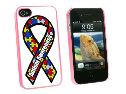 Graphics and More Autism Awareness Ribbon - Snap On Hard Protective Case for Apple iPhone 4 4S - Pink - Carrying Case - Non-Retail Packaging - (Awareness Iphone 4 Covers)