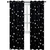 BUZIO 2 Panels Star Print Blackout Curtains with 2 Tiebacks for Kids Room