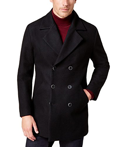 Alfani Men's Water-Resistant Pea Coat (Deep Black, X-Large)