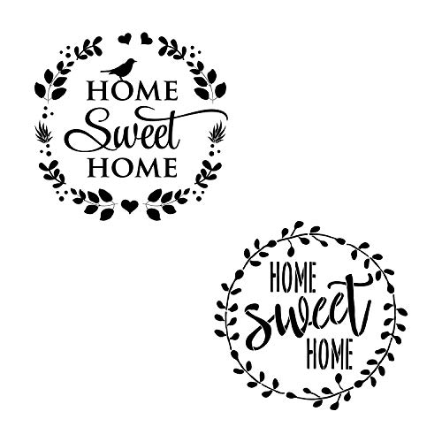 AZDIY Reusable Stencil Set- 2 Design of Home Sweet Home Stencil with Laurel Wreath 12