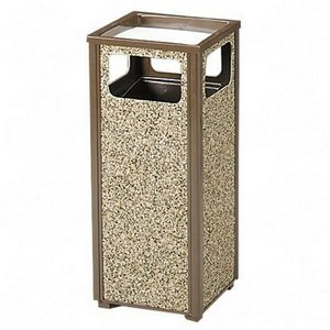 Rubbermaid Steel Stone Panel Receptacle - Combination Trash Receptacle/Sand Urn - 12-Gallon Capacity - Brown Frame/Desert Brown Panels - Brown Frame/Desert Brown Panels
