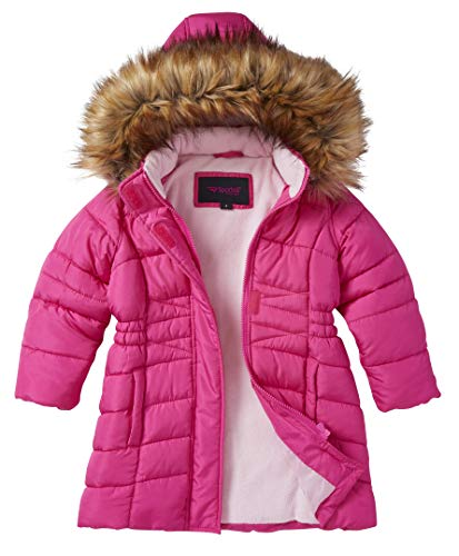Girls' Midlength Quilted Fleece Lined Winter Puffer Jacket Coat Zip-Off Fur Hood-Fuchsia (4)]()