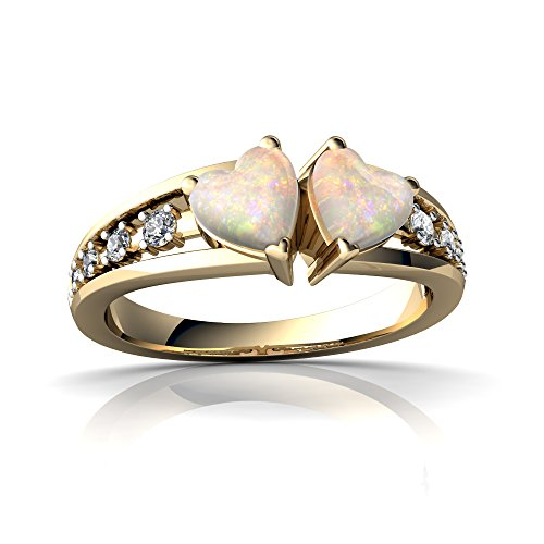 14kt Yellow Gold Opal and Diamond 5mm Heart Heart to Heart Ring - Size 6.5 by Jewels For Me