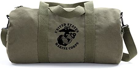 United States Marine Corps Army Sport Heavyweight Canvas Duffel Bag in Olive Black, Large