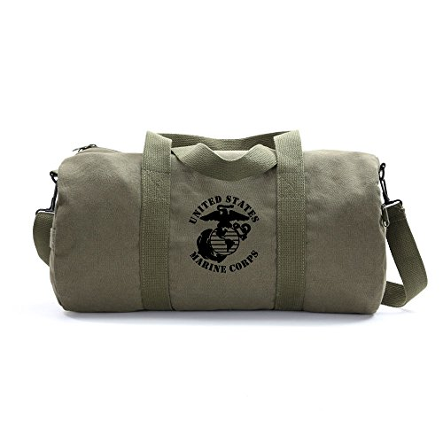 United States Marine Corps Army Sport Heavyweight Canvas Duffel Bag in Olive & Black, Medium