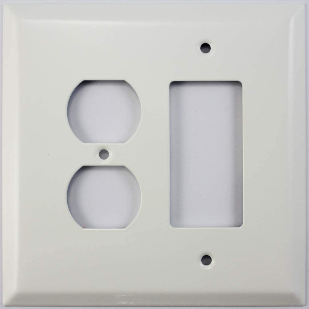 Over Sized Jumbo Smooth White 2 Gang Combo Wall Plate 1 Duplex Outlet 1 Gfci Rocker Opening