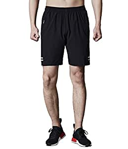 Mens Running Shorts Zipper Loose Lightweight Gym Workout Exercise Shorts with Side Pockets Grey 2XL