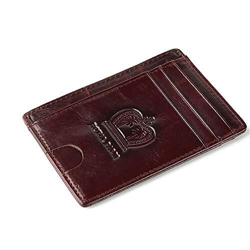 Slim LEATHER Wallet minimalist front pocket RFID Protection(Brown)
