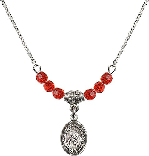 (July Birth Month Bead Necklace with Saint Margaret of Cortona Petite Charm, 18 Inch)