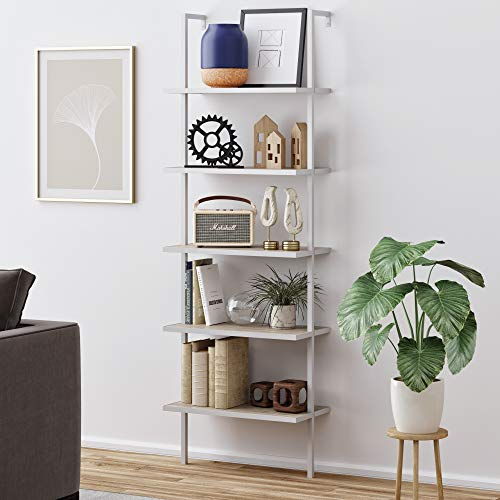 Nathan James 65504 Theo 5-Shelf Wood Ladder Bookcase with Metal Frame, Gray Oak White