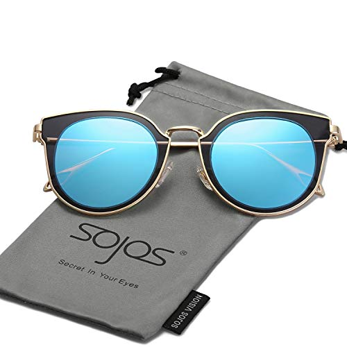 785746c9cac SOJOS Fashion Polarized Sunglasses for Women UV400 Mirrored Lens SJ1057  with Gold Frame Blue Polarized Lens