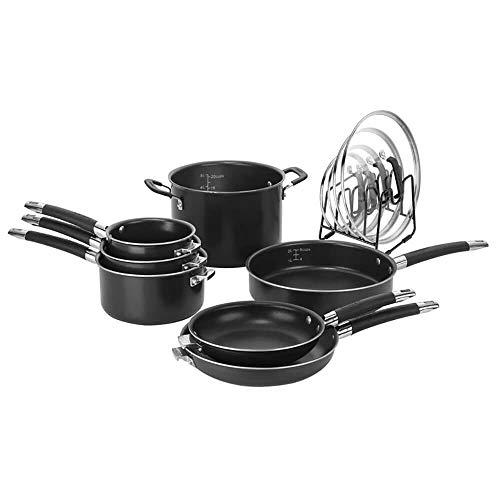 CUISINART N51-12BK SmartNest Nonstick Aluminum Nesting Cookware Set, 12 Piece, Black
