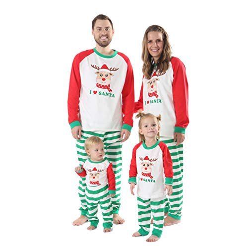 Gyrategirl Family Matching Christmas Pyjamas, Green Striped Soft Cotton Holiday Xmas PJs Sets for Women Men Girls Infants